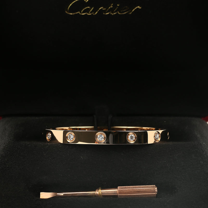 18k pink gold Cartier Love bracelet 10 diamonds new style size 16 box & papers - Terrafinejewelry