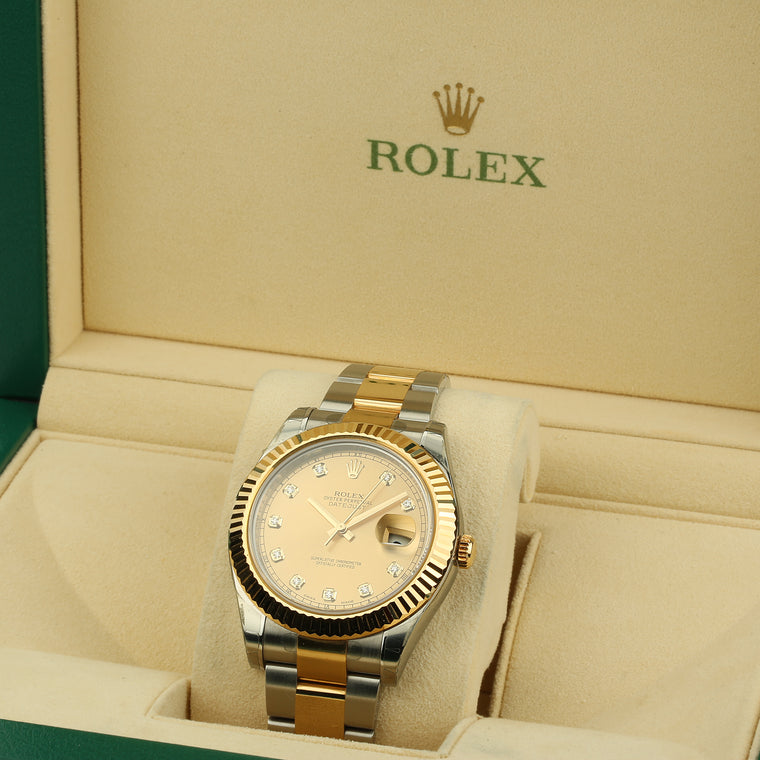 Men's Rolex Date Just II 41mm two tone 18k yellow gold diamond dial ref 116333