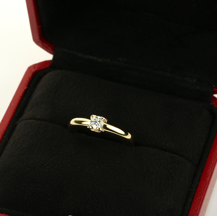 18k Yellow gold Cartier Louis Cartier 0.30 ct. diamond engagement solitaire ring