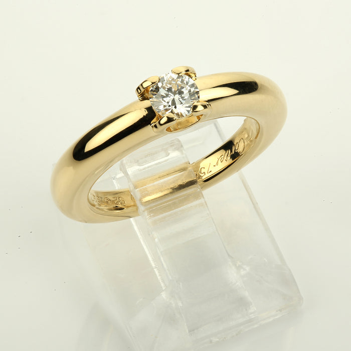 18k Yellow gold Cartier Louis Cartier 0.30 ct. diamond engagement solitaire ring - Terrafinejewelry
