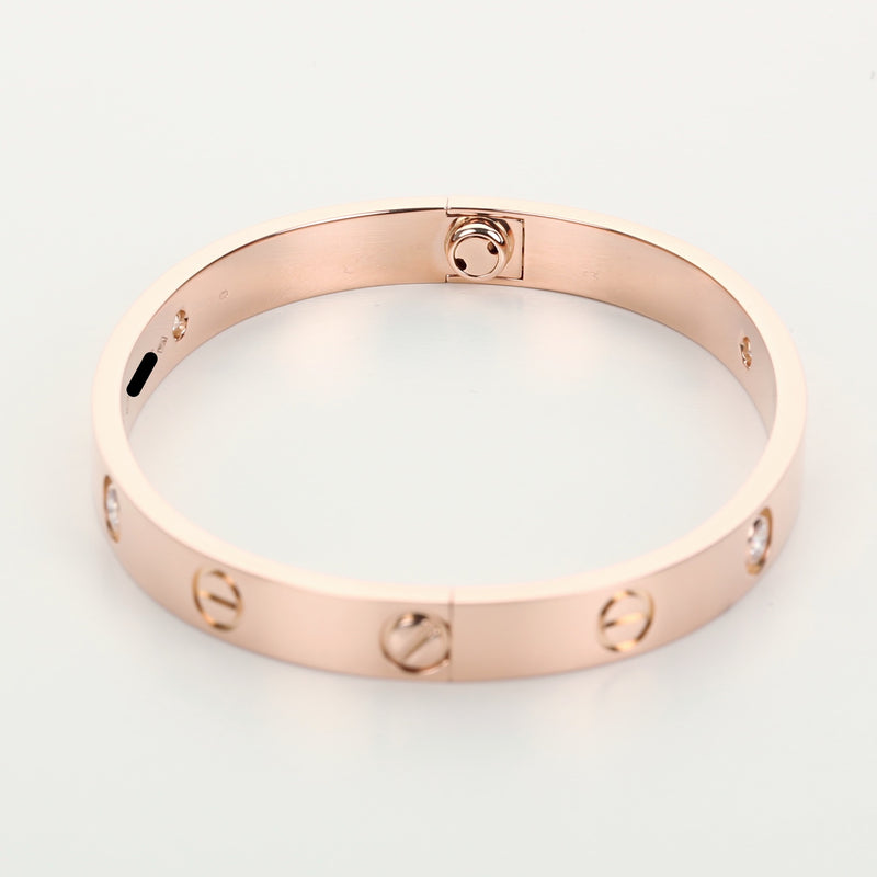 18k pink gold 4 diamonds Cartier love bracelet new style screw system size 16 - Terrafinejewelry