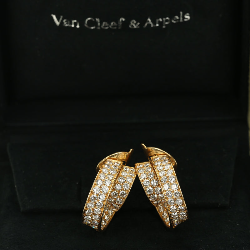 18k yellow gold and diamonds double hoop earrings by Van Cleef & Arpels - Terrafinejewelry