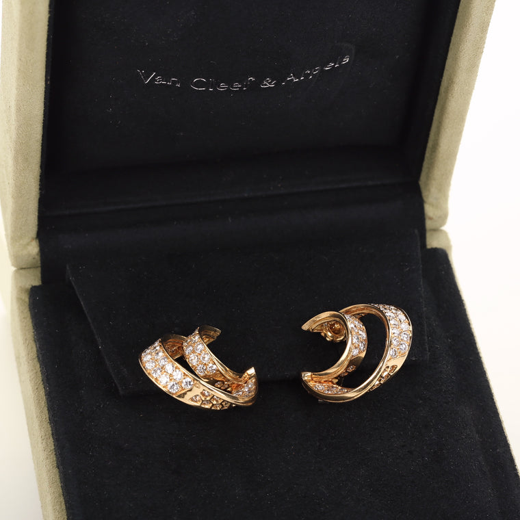 18k yellow gold and diamonds double hoop earrings by Van Cleef & Arpels