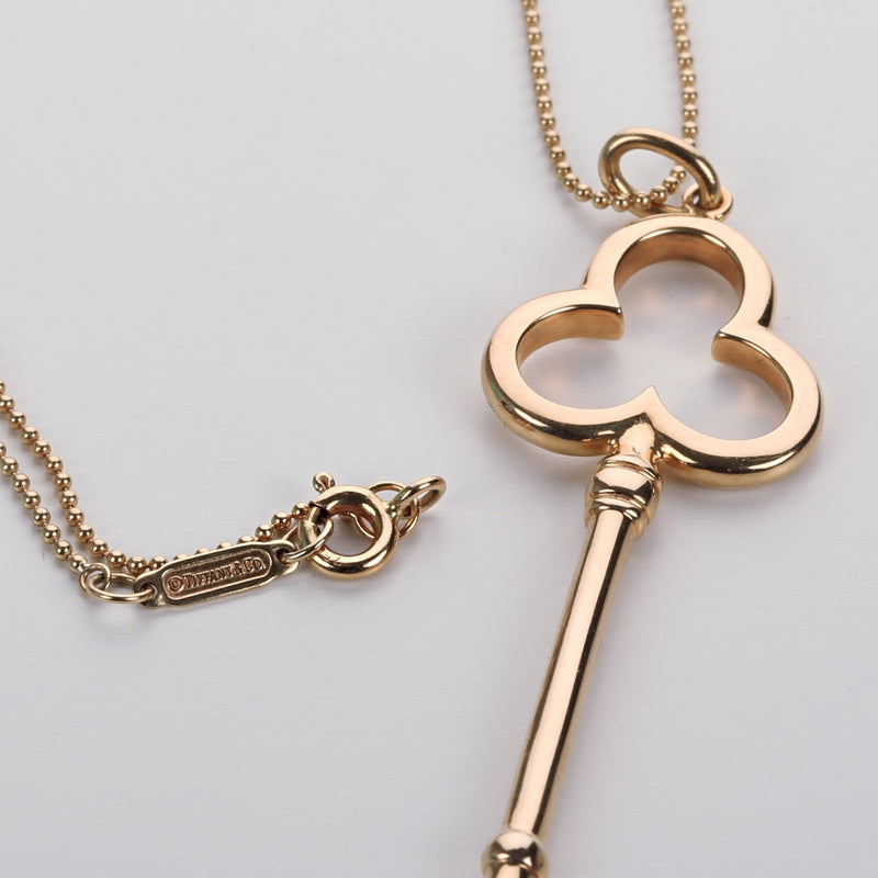 18k yellow gold Tiffany & Co Trefoil Key pendant with chain 2in long - Terrafinejewelry