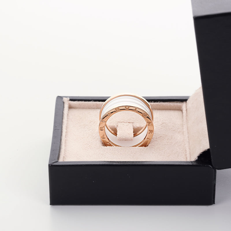 18k rose gold white ceramic four-band Bulgari B zero1 ring size 54 EU 7 US - Terrafinejewelry