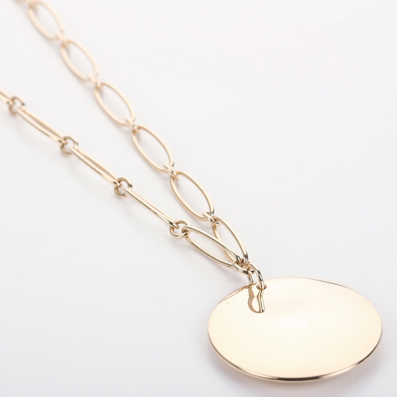 18k yellow gold Tiffany & Co Elsa Peretti Round collection pendant with chain - Terrafinejewelry