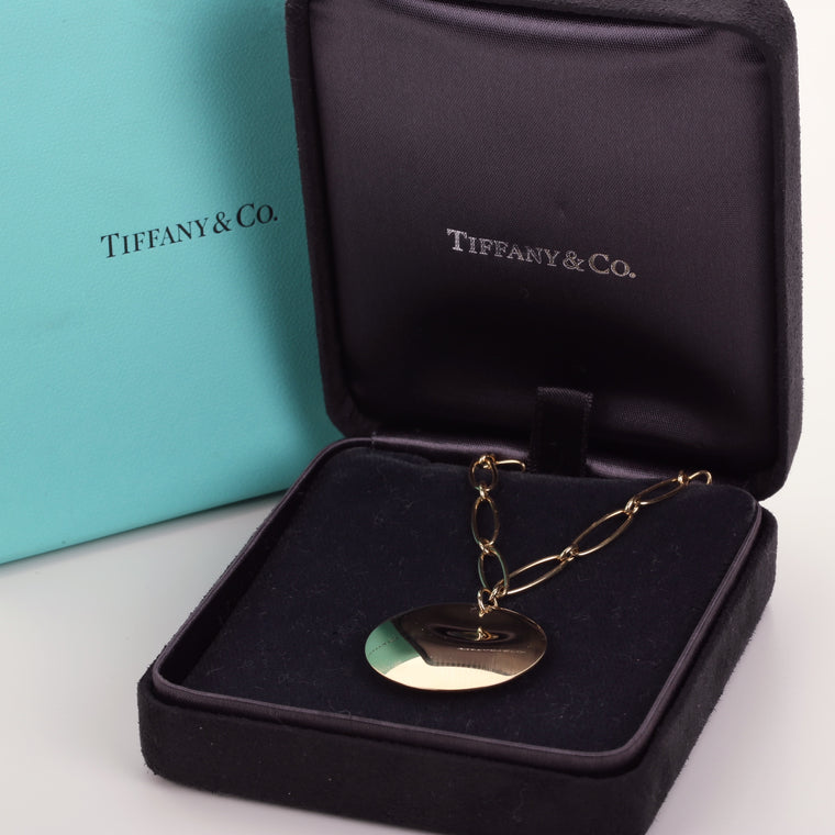 18k yellow gold Tiffany & Co Elsa Peretti Round collection pendant with chain