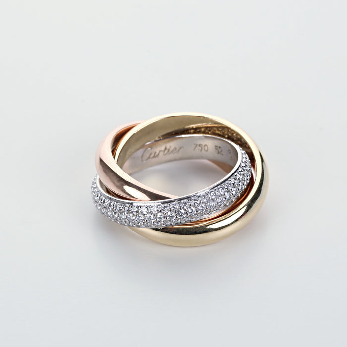 Cartier Trinity ring medium model diamond 18K white pink & yellow gold size 52 - Terrafinejewelry