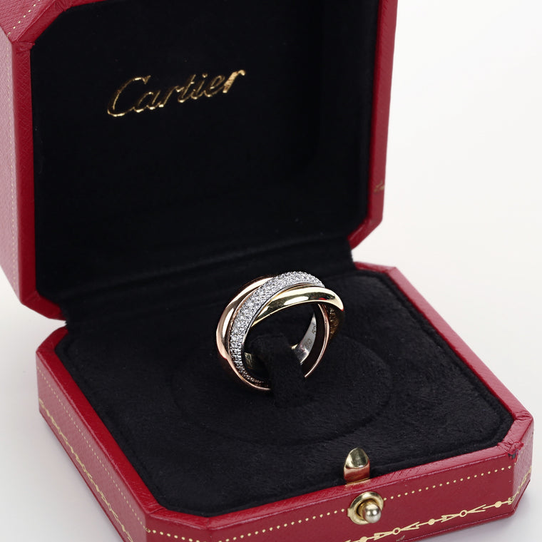 Cartier Trinity ring medium model diamond 18K white pink & yellow gold size 52