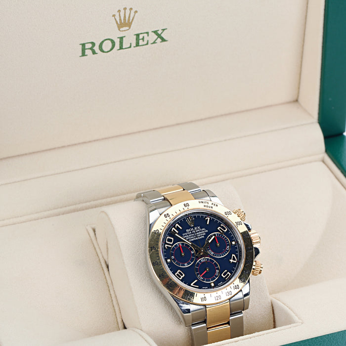 Rolex Daytona 116523 Blue arabic dial two tone 18k V serial year 2009 - Terrafinejewelry