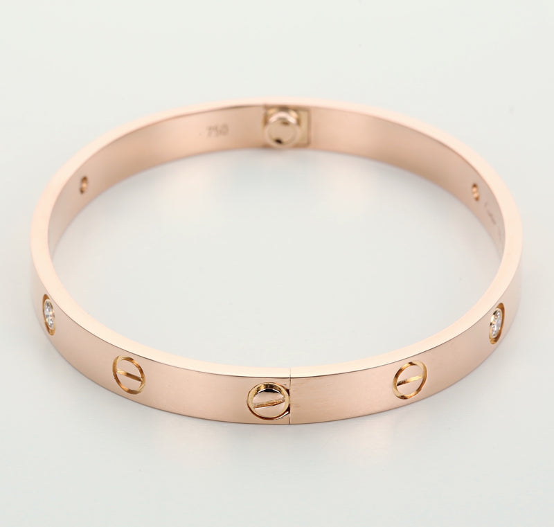 18k rose gold 4 diamonds Cartier Love bracelet new style system size 18 with box - Terrafinejewelry