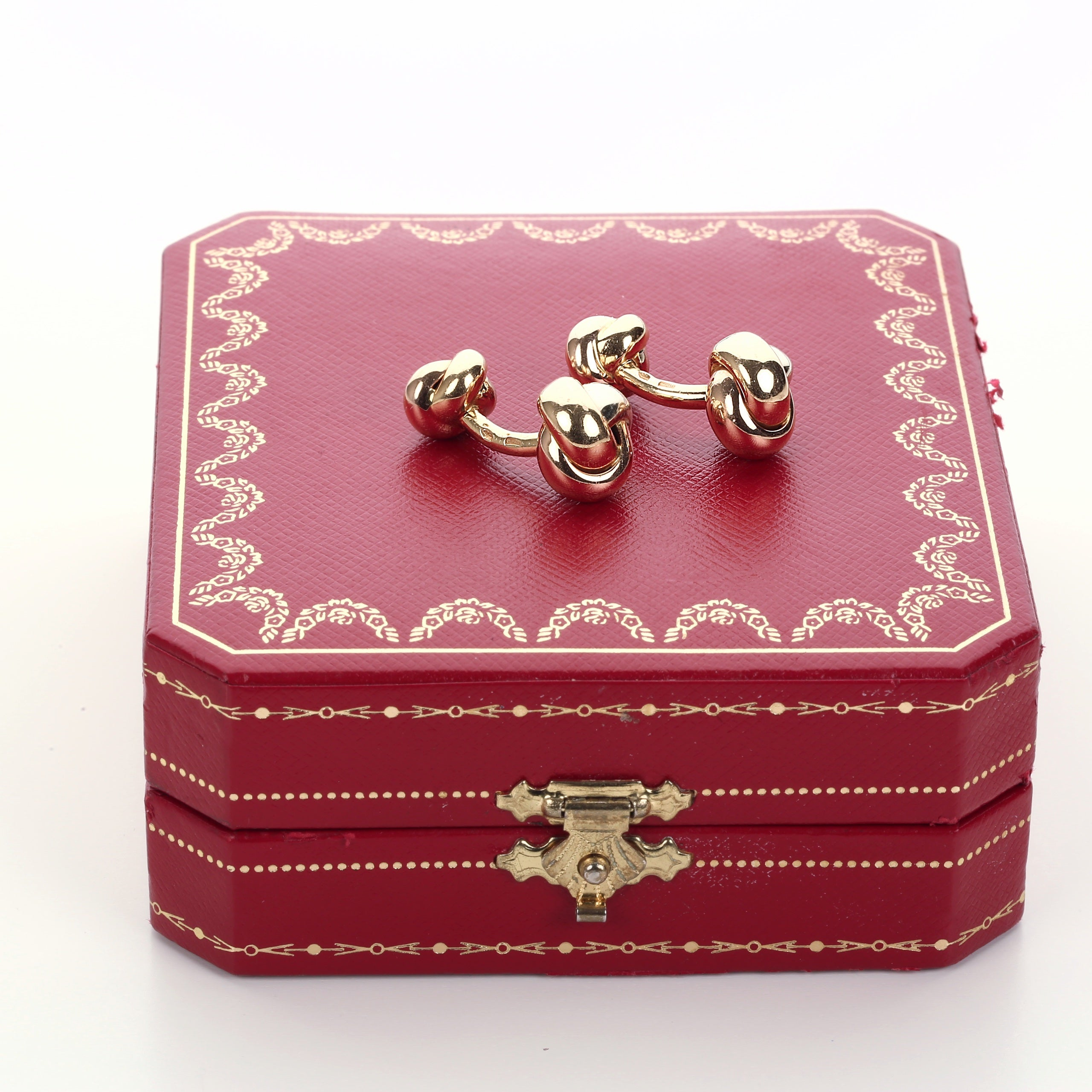 Vintage 18k yellow white and rose gold Cartier knot Trinity cufflinks - Terrafinejewelry