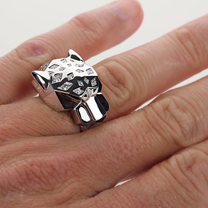 18k white gold diamonds and onyx Cartier Panther ring size 53 EU 6.75 US - Terrafinejewelry
