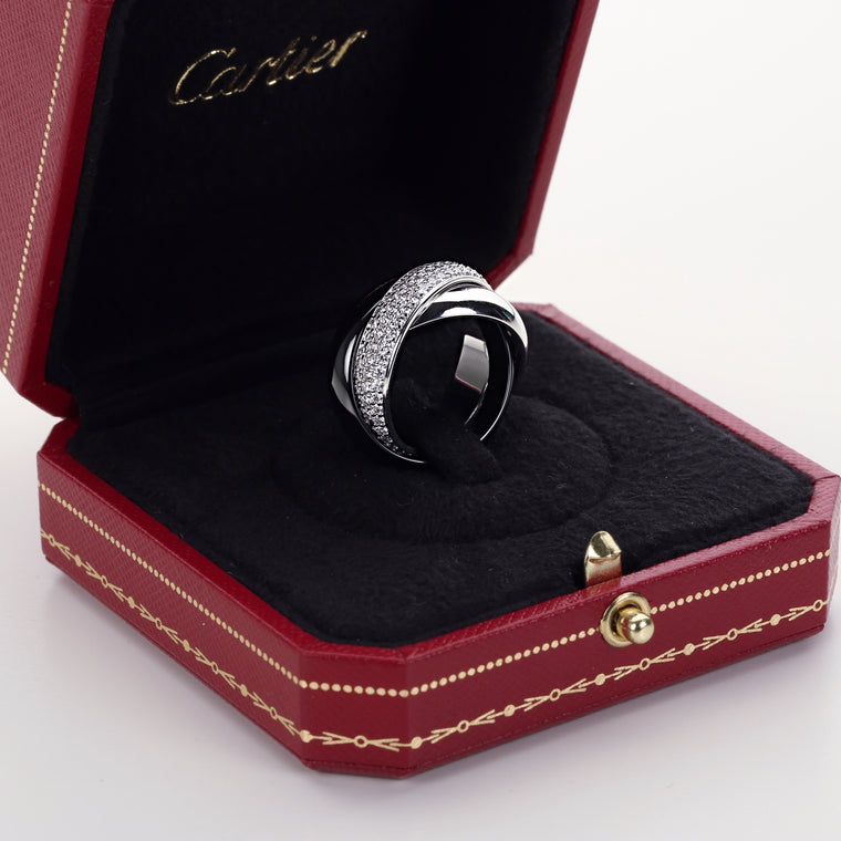 Cartier Trinity large model ring 18k white gold diamonds platinum ceramic size 7