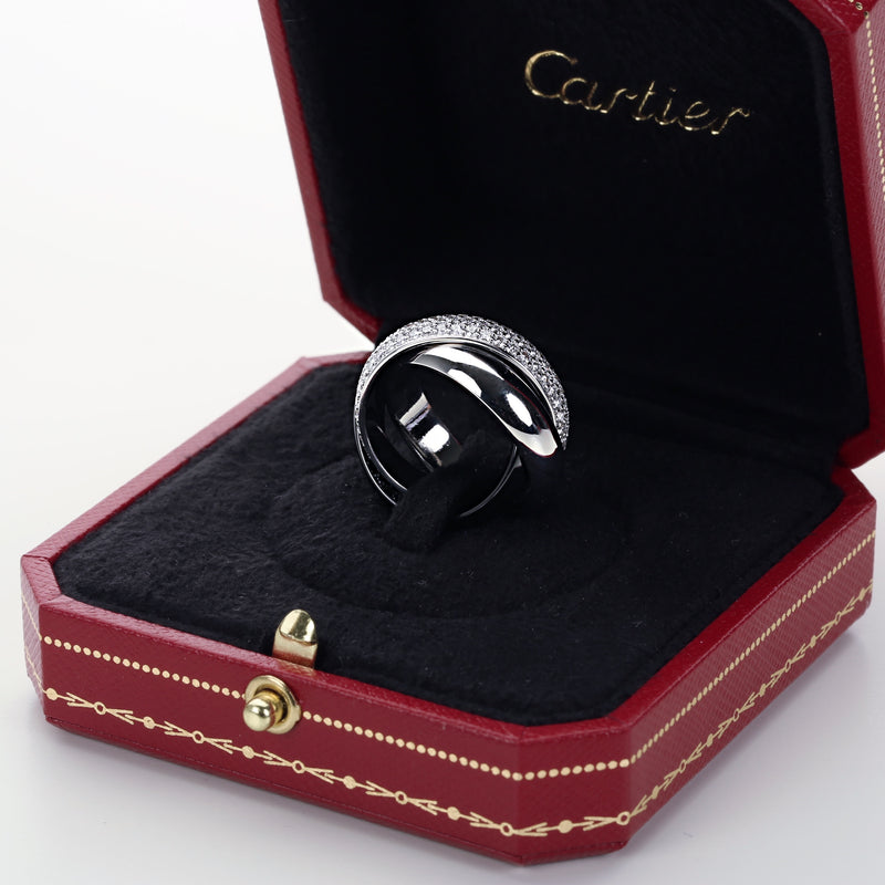 Cartier Trinity large model ring 18k white gold diamonds platinum ceramic size 7 - Terrafinejewelry