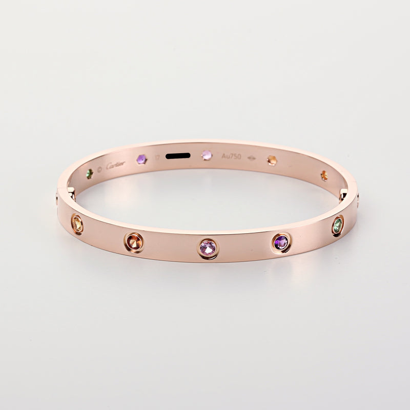 Cartier Love Rainbow multi color gems bracelet 18k pink gold size 17 new style - Terrafinejewelry