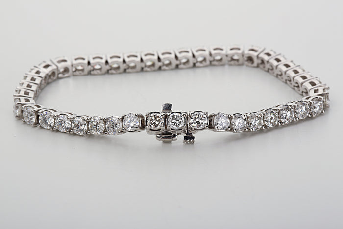 14k White gold and 10 ct round diamonds tennis bracelet - Terrafinejewelry