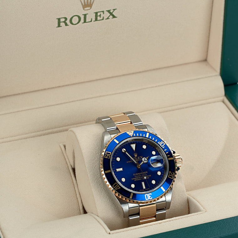 Rolex submariner 16613 two tone M serial 2008 with box and authenticity letter