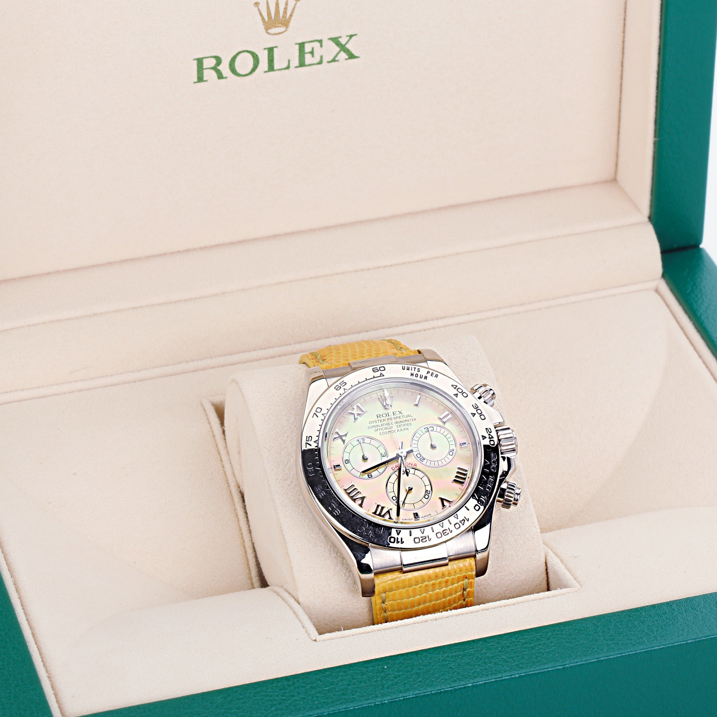 Rolex Oyster Perpetual Daytona Beach yellow mother of pearl ref 116519 with box - Terrafinejewelry