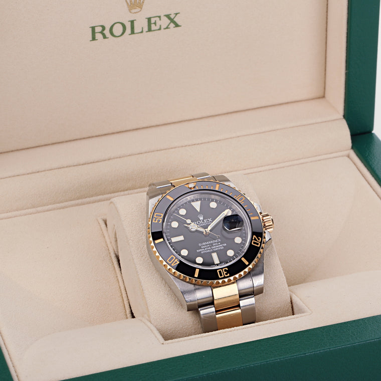 Rolex submariner two tone 18k gold and steel black dial ceramic bezel ref 116613