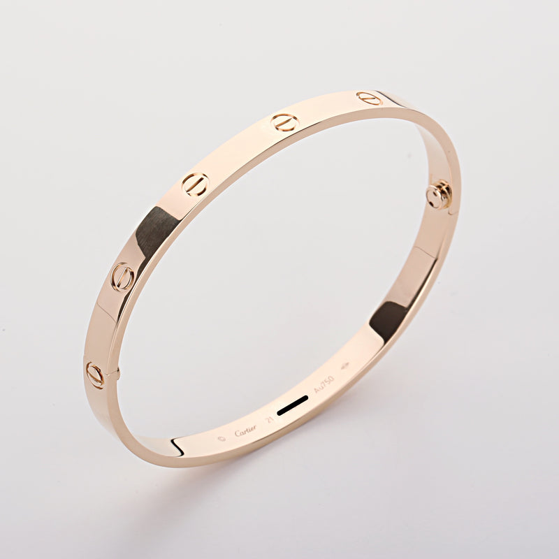 18k yellow gold Cartier Love bangle bracelet size 21 new style 2018 box & papers - Terrafinejewelry