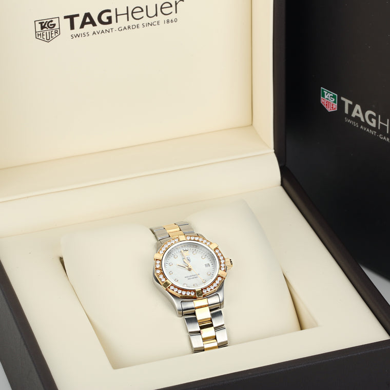 TAG HEUER Aquaracer Mother of Pearl Diamond Dial Ladies Watch 26mm two tone