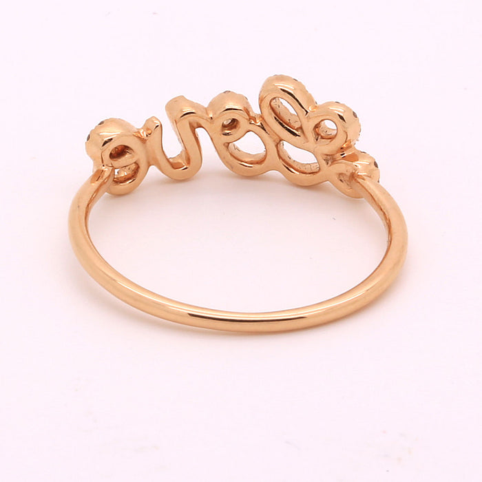 New Diamond Ring with Love motif made in solid 18k Rose Gold - Terrafinejewelry