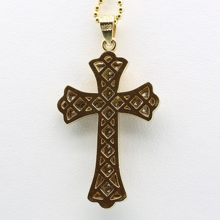 Cross Necklace chain pendant in 14k yellow and white gold, Total Carat 0.48 - Terrafinejewelry