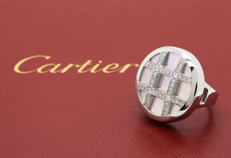 Cartier Pasha Ring in 18k White Gold with Diamonds and Mother of Pearl size 52