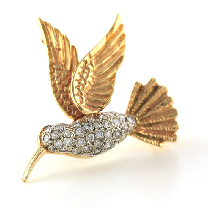 Antique vintage hummingbird brooch pin in 14k yellow and white gold with diamond - Terrafinejewelry