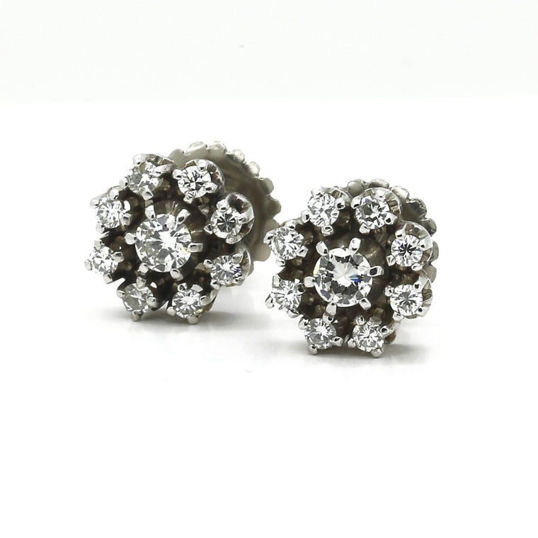 Antique Cluster Stud Earrings in 18k White Gold and Diamonds. Total Carat 1.94