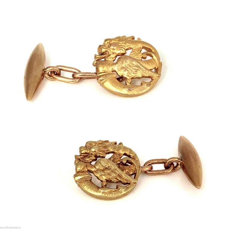 Vintage Dragon 18k yellow and rose gold cufflinks