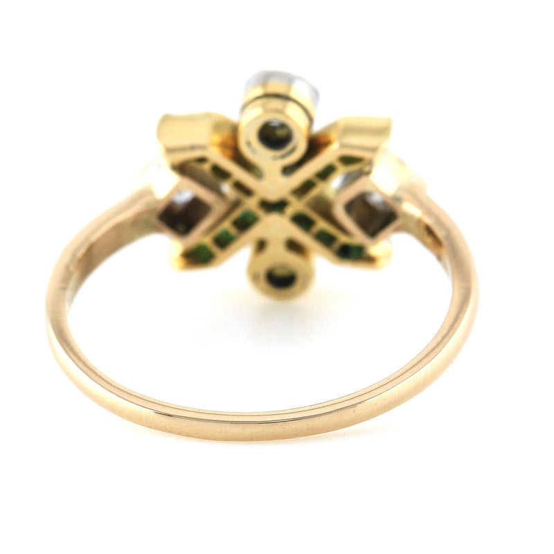 Antique Art Deco 18k yellow gold Old European diamond and emerald ring size 5.5 - Terrafinejewelry