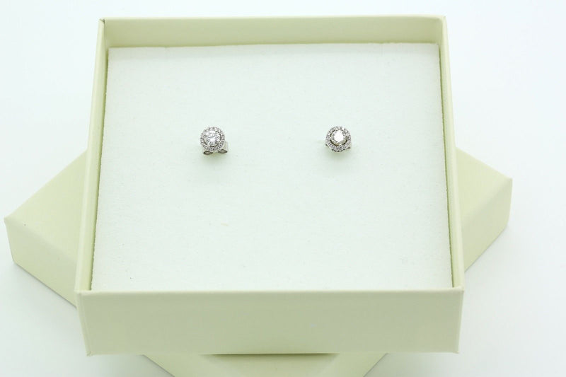 Halo Stud Diamond Earrings in 18k White Gold with a Total of 0.66 carat - Terrafinejewelry