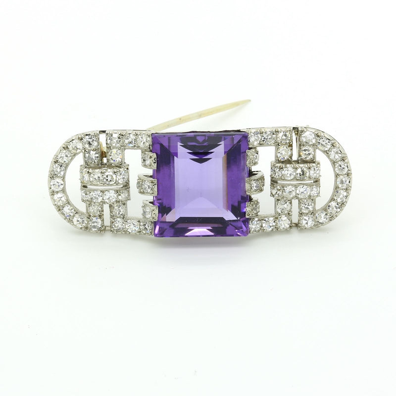 Antique Art Deco Brooch Pin in Platinum Diamond and Amethyst signed Marzo Paris - Terrafinejewelry