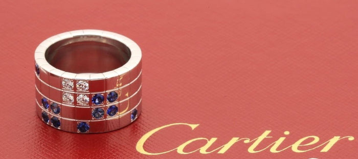 Cartier Links & Chains Lanieres Ring in 18k White Gold Diamond Blue Sapphire - Terrafinejewelry