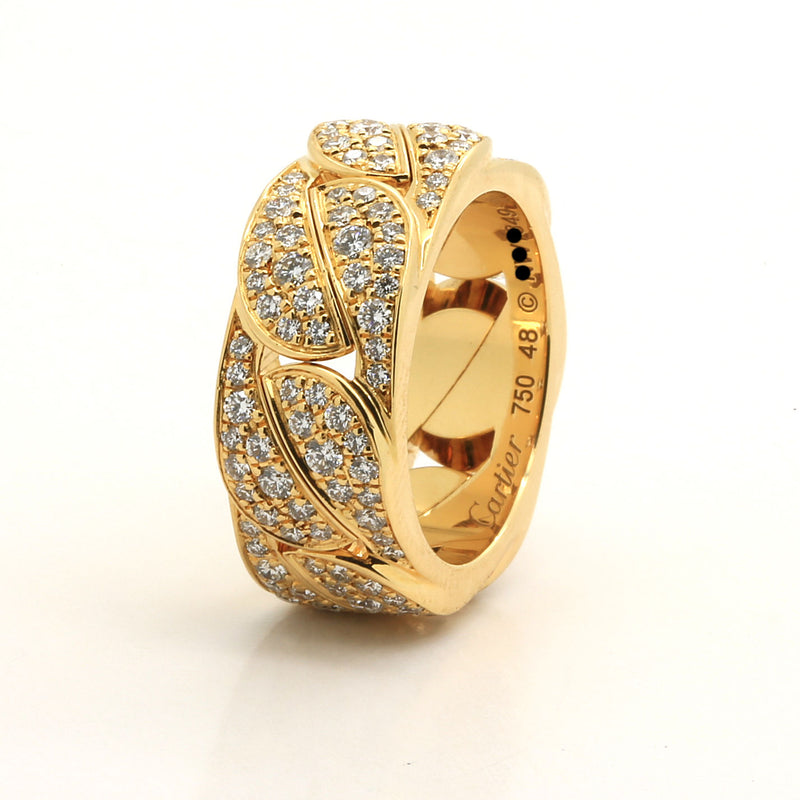 Vintage 18k yellow gold full diamonds Cartier La Dona ring. size 48EU. 4.5US - Terrafinejewelry