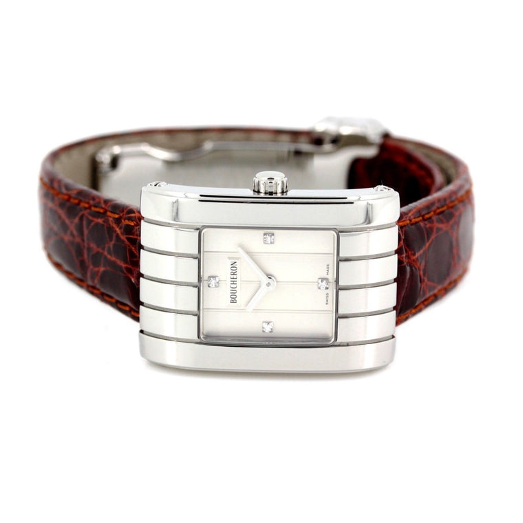Boucheron reflet parallel watch women's stainless steel diamond & leather strap
