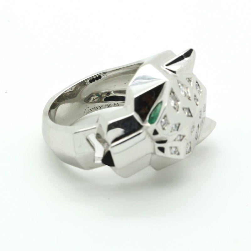 Cartier Panthere Diamond, Emerald & Onyx Ring in 18k White Gold size 54 EU 7 US - Terrafinejewelry