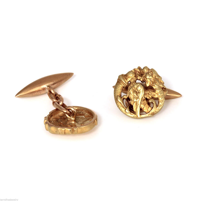Vintage Dragon 18k yellow and rose gold cufflinks - Terrafinejewelry