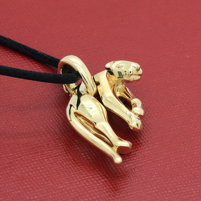 Cartier Panthere Pendant Necklace in 18k Yellow Gold New Cartier Cord Gold Tips - Terrafinejewelry