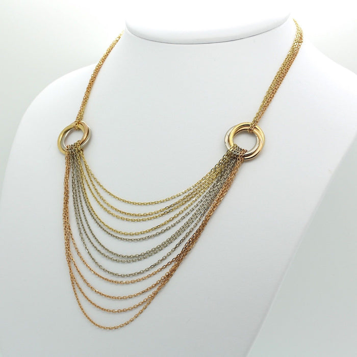 Cartier Trinity Gold Necklace / chain in 18k Yellow, White & Rose Gold. like new - Terrafinejewelry
