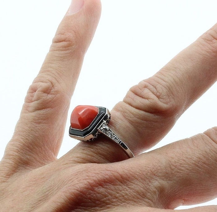Art Deco Ring in Platinum, with center natural Coral, Onyx & Diamonds - Terrafinejewelry