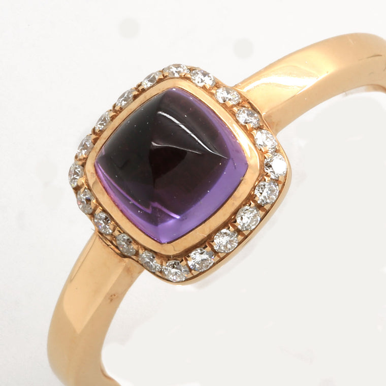Fred Pain de Sucre Ring in 18K Rose Gold with Amethyst & Diamonds