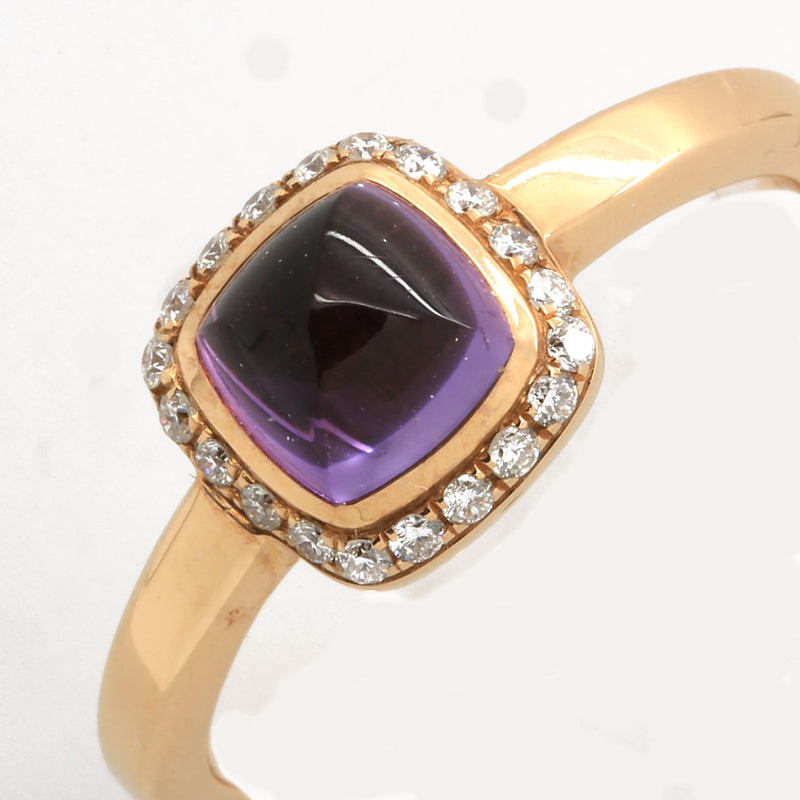 Fred Pain de Sucre Ring in 18K Rose Gold with Amethyst & Diamonds - Terrafinejewelry