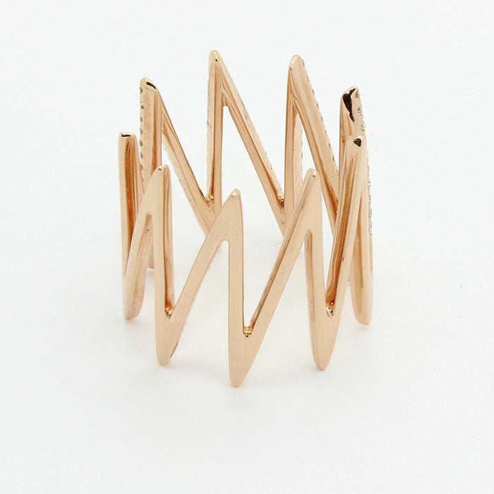 New Diamond Ring with Zig Zag motif made in solid 18k Rose Gold - Terrafinejewelry