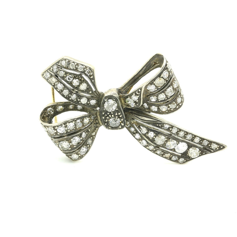 Antique Victorian Bow Motif Brooch Gold & Silver topped 3.10 carats of Diamonds