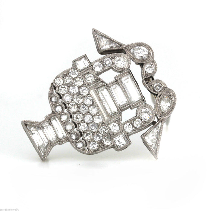 Antique art deco platinum diamond Brooch pin birds drinking from the fountain - Terrafinejewelry