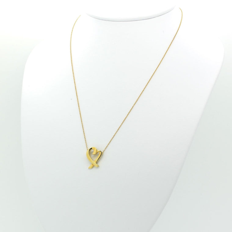 Tiffany & Co Paloma Picasso Loving Heart Necklace Pendant in 18k Yellow Gold