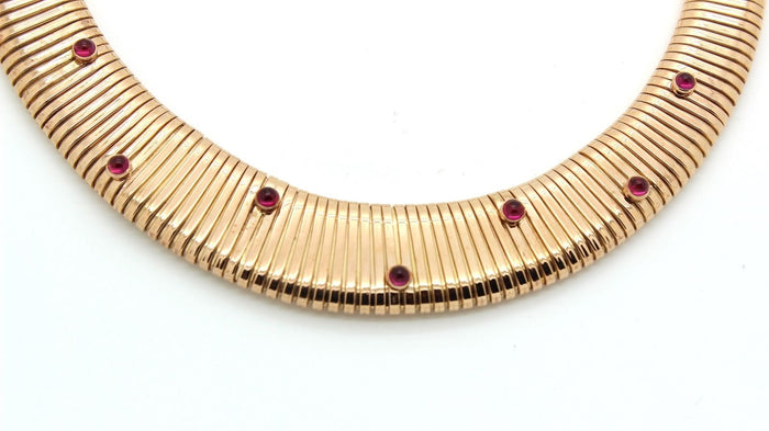 Retro 1940's tubogas necklace in 18k rose gold & ruby (9 rubies) - Terrafinejewelry